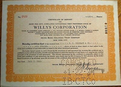 'Willys Corporation' 1923 Stock Deposit Certificate - Car/Automobile/Automotive