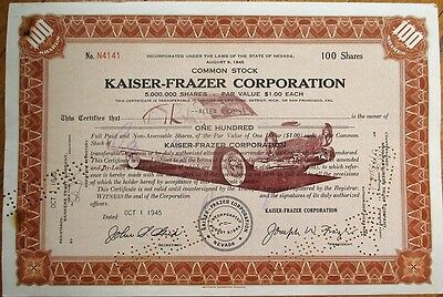 'Kaiser-Frazer Corporation' 1945 Car/Automobile Stock Certificate - Nevada NV