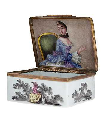 German enamel box with portrait of a lady, c.1770