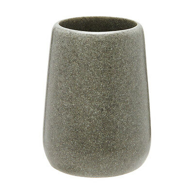 Home GREY STONE LOOK TUMBLER Ideal for Toothbrush, Polyresin Made, 7.5x7.5x10cm