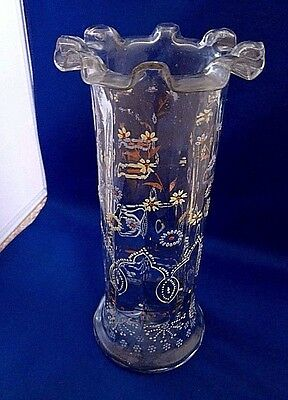 Antique Hand Blown Glass Vase with Enameled Decorations - Czech