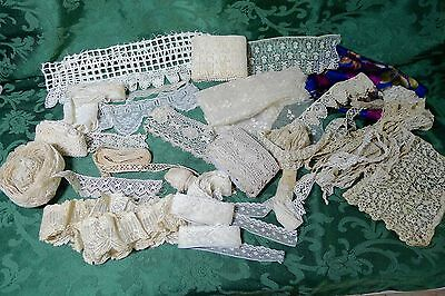 Box Lot 3 Antique Vintage Lace Yardage Trim Swiss Bobbin lace Hand made