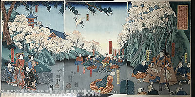 Original Japanese Woodblock Print Triptych Kuniyoshi 1850 Lovers in Hunting Game