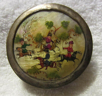 Antique Persian Hand Painted hunting scene Mother of Pearl Metal box with mirror