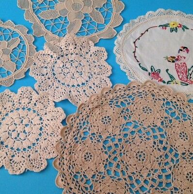 6 x Vintage Oval & Round  Doilies. Each Very Different - FREE POST