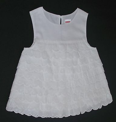 New Gymboree Girls Toddler Top - White Eyelet Tiered Ruffle Rumba Top - Size 2T
