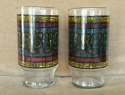 Set of Two Arby's Roast Beef Vintage Drinking Glasses - Stained Glass