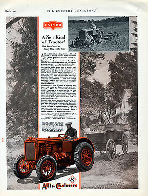 "1930 Allis-chalmers Tractor Ad -""A New Kind of Tractor""----v443"