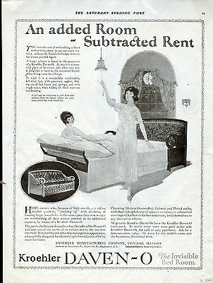 1921 Kroehler Daven-O ad ---Furniture ad -Invisible Bedroom--p-866