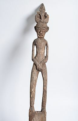 """Indonesian 62"""" PAGAR funerary post, Carved wood, figural carving, weathered"""