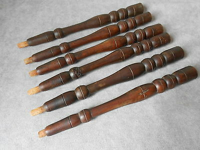 "6 Antique French turned wood COLUMNS BALUSTERS 12.40"" L"