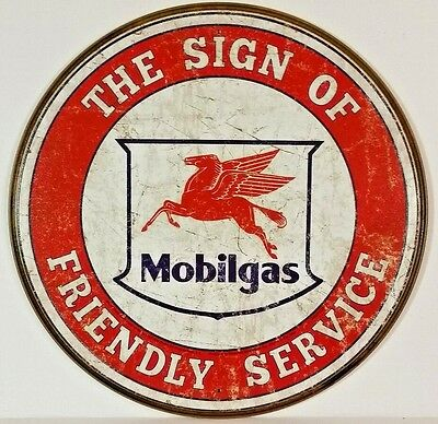 Mobilgas Friendly Service Round Tin Sign Vintage Distressed Style Gas Oil Garage