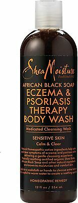 Shea Moisture African Black Soap Eczema - Psoriasis Therapy Body Wash 12 oz