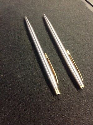 Montblanc Noblesse Stainless Steel Gold Trim Ballpoint Pen and Pencil .5mm 1970s