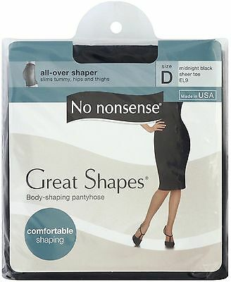 No Nonsense Great Shapes Body Shaping Pantyhose, Size D, Midnight Black 1 ea 3pk