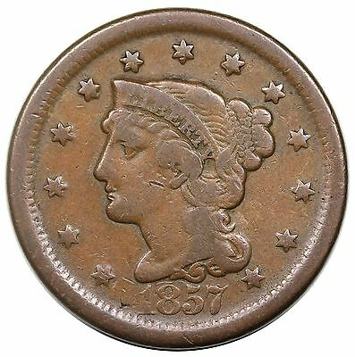 1857 Braided Hair Large Cent, Large Date, N-1, nice VG+