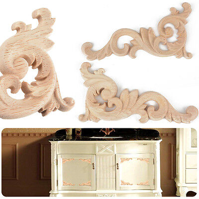 Wood Craft Carved Corner Onlay Applique Furniture Drawer Door Home Decor 12x6cm