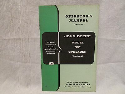 "Vintage John Deere Operator's Manual Model ""W"" Spreader (Series 1)"
