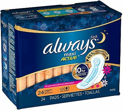 Always Fresh Maxi Active Overnight Pads with Flexi-Wings 24 ea (Pack of 3)