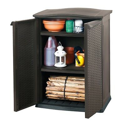Keter Mini Small Patio Storage Shed with Shelves Outdoor Garden Rattan 17190095