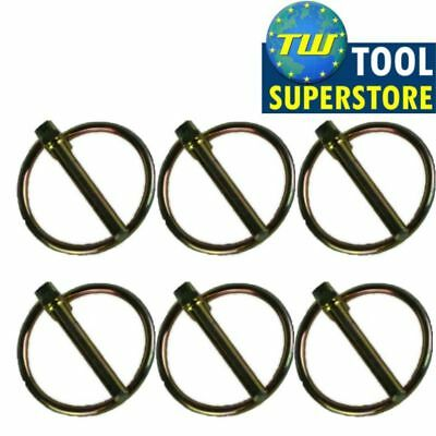 6x Trailer Security Lynch Ring Pins 45mm x 6mm Tractor Hitch Tow Bar Caravan