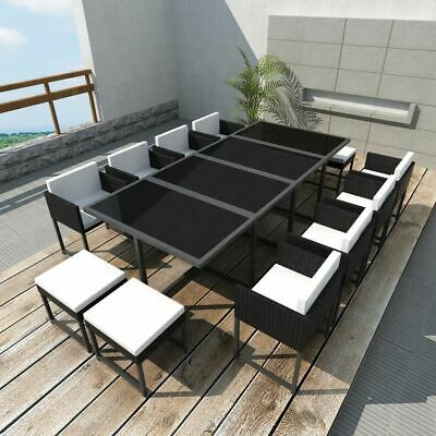33 Piece Outdoor Dining Set Garden Table and Chairs Furniture Black Poly Rattan