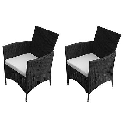2 pcs Outdoor Garden Chair Set w/ 2 Cushions Outdoor Picnic Seat Poly Rattan