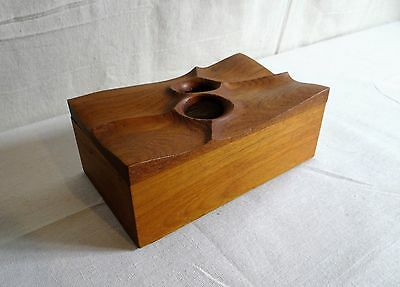 American Modern Art Unpainted Figured Walnut Sculpted Box, Signed and Dated