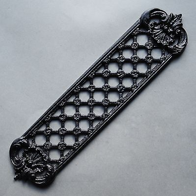 Solid Cast Iron Trellis Victorian Antique Ornate Black Door Finger Plate - Fp01