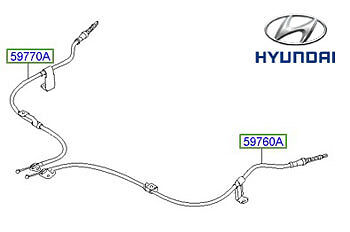 Genuine Hyundai i10 Handbrake Cable, LH - 597600X930