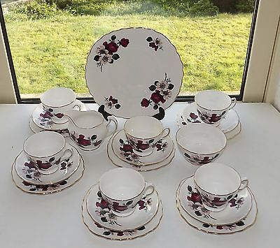 Queen Anne English China 21 Piece Teaset Cup Saucer Plate Milk Sugar Red  Roses