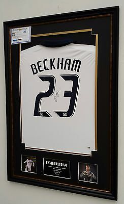*** Rare DAVID BECKHAM of LA GALAXY Signed Shirt Picture Display ** AFTAL DEALER