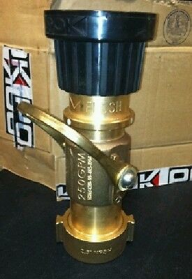 """New POK Bronze 250 gpm 2.5"""" Inlet Fire Hose Nozzle"""