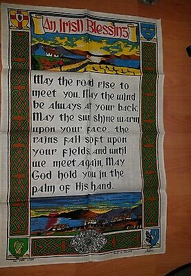 "Irish Blessing Pure Linen Towel -""An Irish Blessing"" - Made in Ireland 30x20"