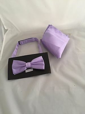 Lavender-Lilac Pre-tied Polyester Mens Bow tie & Hankie Set > P&P 2UK >1st Class