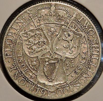 British Florin - 1900 - Big Silver Coin - $1 Unlimited Shipping
