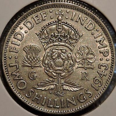 British Florin - 1943 - Big Silver Coin - $1 Unlimited Shipping