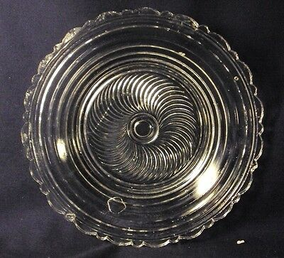Early Flint glass Toddy plate spiral center stepped sides 6""