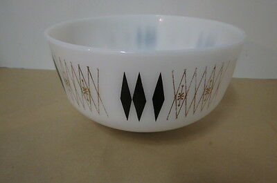 federal harlequin, black and gold diamonds, white opaque mixing bowl