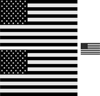 """Black/White Reflective USA Flag Stickers 5"""" x 3"""" x 2 and 1.5"""" x 1"""" X 1 3 Decals"""