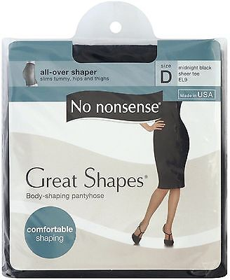 No Nonsense Great Shapes Body Shaping Pantyhose, Size D, Midnight Black 1 ea 6pk