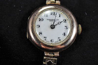 Art Deco Buran Swiss 9ct Rose Gold Ladies Watch Hallmarked 1927