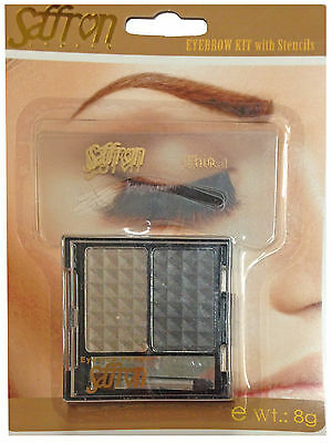 Saffron Eyebrow Kit With Shape Stencils Powder 2 Colour Tone Shade Perfect Brow
