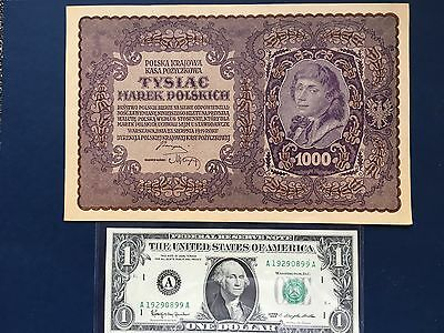 POLAND 1919, 1000 MAREK Very Large, UNC Banknote. Dollar not included.