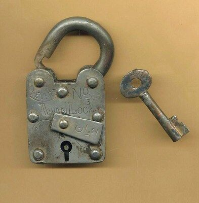 OLD ANTIQUE EARLY NAUTICAL PADLOCK and KEY *AWAN LOCK CO.
