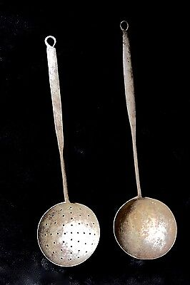 """LOT of 2~ ANTIQUE Blacksmith HAND FORGED Iron 19"""" DIPPER & STRAINER Scoop LADLE"""