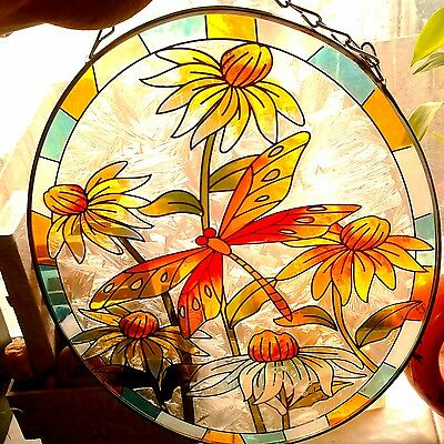 Classic stained glass. spring_ sunflower _multi-color art deco wall hanging