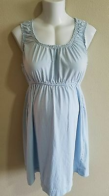 Motherhood Nursing Gown Size Medium Light Blue Cotton