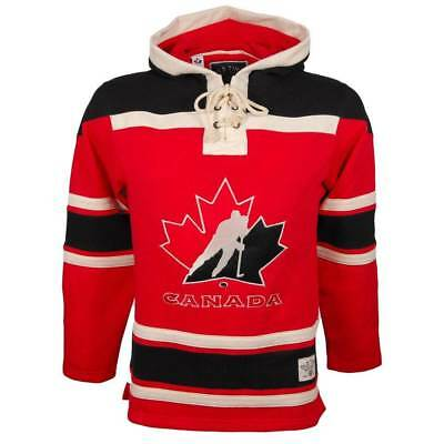 Old Time Hockey Team Canada Lace Up Jersey Hoodie Sweatshirt Rot