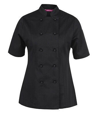 Ladies Vented S/S Chef's Jacket in Black, White